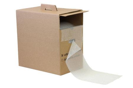 Luftpolsterfolie Spendekarton, 285mm breitx50lfm, 80µ, Perforation je 300mm