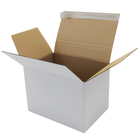 Wellpapp-Faltkarton 1-wellig, 305x215x220mm,A4,Qual. 1.30B, weiß, Fefco 0713,Autom.-Boden, SK-Verschluss, Aufreißperf.