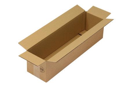 Langer Faltkarton 1-wellig, 600x150x150 mm, A1, Qual. 1.30 braun, längsseitige Öffnung