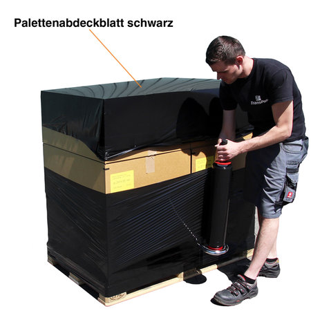 Paletten-Abdeckblatt, 1500x1800mm, 30µ schwarz 200 Stück perforiert auf Rolle