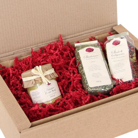 Geschenkfüllmaterial aus recyclebarem dreilagigen 80g/qm Papier, 10kg per Karton Sizzle-Pak, rot
