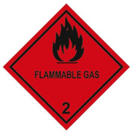 """Gefahrgut-Etiketten, 100x100mm, aus Papier mit Aufdruck/Symbol """"Flammable Gas"""""""