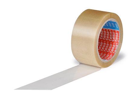 PVC-Klebeband, 50mm breitx66lfm, 49µ transparent, leise, tesa 4120 Naturkautschuk