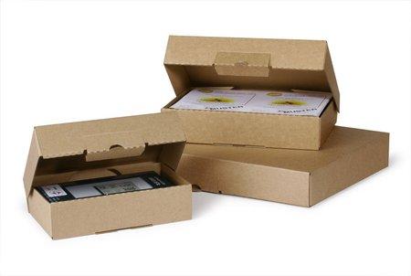 Klappschachtel aus Mikrowelle, 220x155x45mm, A5, Qual. 1.3E, Steckverschluss, Fefco 0427, Versand als Maxibrief möglich