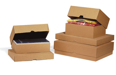 Stülpdeckelkarton, 335x230x45mm, C4, 2-teilig Mikrowellpappe, braun, Versand als Maxibrief möglich