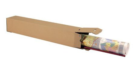 Wellpapp-Faltkarton 1-wellig, 105x105x430mm,A2,Qual. 1.3B, braun, Automatikboden, Boden, und Deckel mit SK-Verschluss