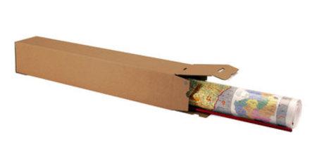 Wellpapp-Faltkarton 1-wellig, 105x105x860mm,A0,Qual. 1.3B, braun, Automatikboden, Boden, und Deckel mit SK-Verschluss