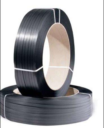 PP-Umreifungsband, 12mm breitx2500lfm, schwarz 0,55mm Stärke, für Umreifungs- maschine, Reißfestigkeit 134kp