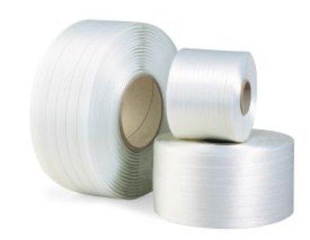 Polyesterband, fadenverstärkt, 19mm breitx500lfm, weiß, Reißfestigkeit 725kp, Kerndurchm. 76mm