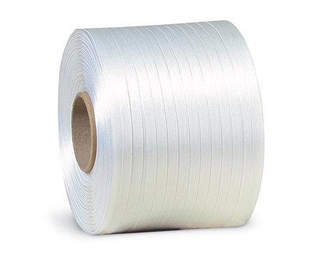 Polyester-Ballenpressenband, 9mm breitx500lfm, weiß, Reißfestigkeit 280kp, Kerndurchm. 76mm