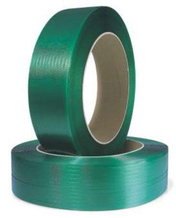Polyesterband, geprägt, 15,5mm breitx1500lfm, grün 0,9mm Stärke, Kern 406mm Reißfestigkeit 529kp