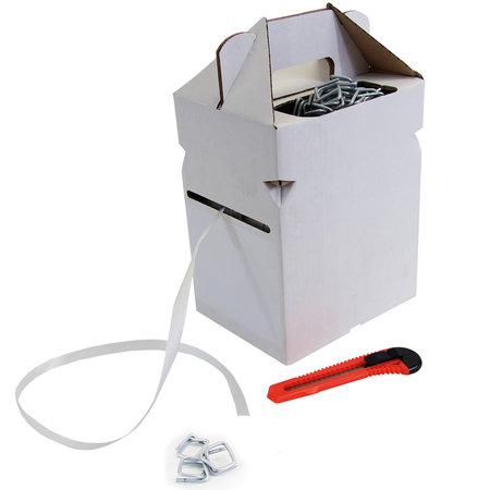 Polyesterband Dispenser Box, 13mm breitx250lfm, weiß 0,5mm stark, inklusive 100 Metallklammern und Messer