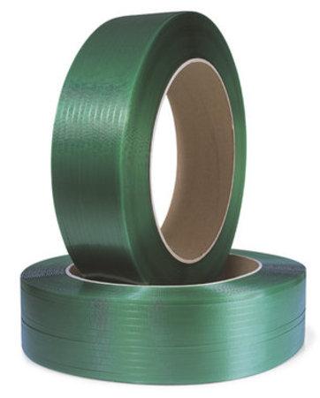 Polyesterband, geprägt, 12,7mm breitx2500lfm, grün 0,6mm Stärke, Kern 406mm Reißfestigkeit 305kp