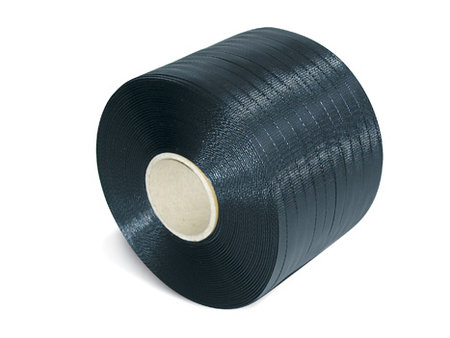 PP-Umreifungsband Kleinrolle, 12,7mm breitx600lfm, 65er Kern schwarz, 0,65mm Stärke Reißfestigkeit 164kp