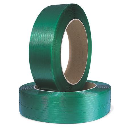 Polyester-/ PET-Umreifungsband, 19x0,8mmx1200lfm, Kern 406 mm, geprägt, grün, Reißfestigkeit 663kp