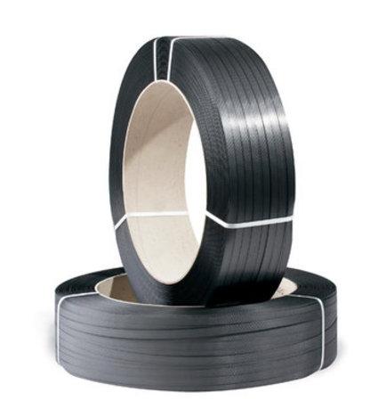 PP-Umreifungsband Großrolle, 12,7mm breit x 1500lfm 0,85mm Stärke, schwarz Reißfestigkeit 288kp