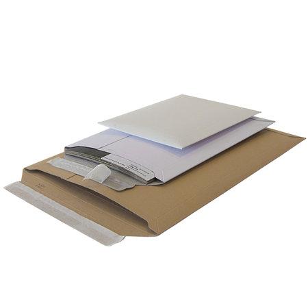 Vollpapp-Versandtasche, 175x250mm, A5, 500g/qm weiß, SK-Verschluss und Aufreißhilfe