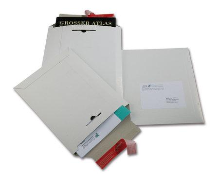 Vollpapp-Versandtasche, 295x375mm, B4, 500g/qm weiß, SK-Verschluss und Aufreißhilfe