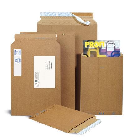 Wellpapp-Versandtasche, 234x330mm, A4, braun, SK-Verschluss und, Aufreißhilfe