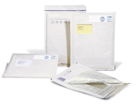 Luftpolster-Versandtasche weiß, 175x265mm Innenmaß, A5, 200x275mm Außenmaß, SK-Ver-, schluß,Sichtfenster,Aufreißfa.